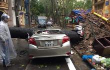 CLIP: Mưa như trút, Hà Nội ngập nhiều nơi, cây đổ đè bẹp xế hộp