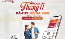 """Chương trình """"Siêu mua sắm tháng 11"""" trên siêu thị điện tử Vnshop của ứng dụng Agribank E-Mobile Banking."""