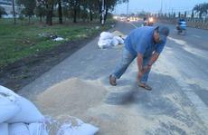 Không xảy ra 'hôi của' khi hàng trăm bao thức ăn gia súc rơi xuống đường