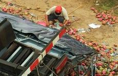 Xe tải lật, trái cây đổ đầy đường