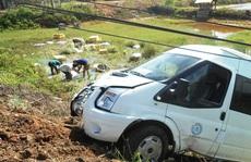 Xe chở tôm bị tai nạn, người dân lội ruộng giúp thu gom