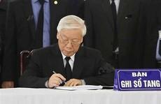 Lãnh đạo Đảng, nhà nước viết gì trong sổ tang Chủ tịch nước Trần Đại Quang?