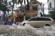 Nước cuồn cuộn ở khu Thảo Điền trong đỉnh triều dâng