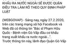 Vụ Giám đốc BV Gò Vấp bị tố đầu cơ khẩu trang: Làm rõ càng sớm càng tốt!