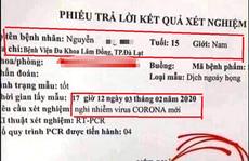 Hoang mang kết quả xét nghiệm dương tính với virus corona giả mạo ở Lâm Đồng