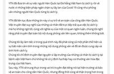 Đài Hàn Quốc xin lỗi vụ khách Hàn chê khu cách ly Việt Nam