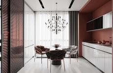 Thiết kế nội thất hiện đại với tông màu đỏ và xám theo phong cách Nhật Bản