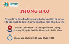 TP HCM: Truy tìm người từng đến siêu thị Lotte Mart ở quận Gò Vấp