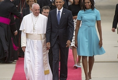 Cả gia đình Tổng thống Obama đón Giáo hoàng thăm Mỹ