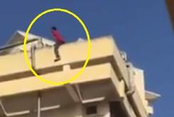 Clip: Thanh niên ngáo đá nhảy như xiếc từ tầng 4 xuống ô tô
