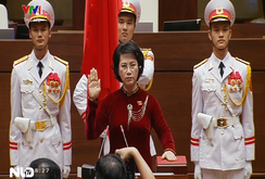 Clip bà Nguyễn Thị Kim Ngân tuyên thệ nhận nhiệm vụ Chủ tịch Quốc hội