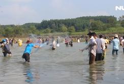 Hàng trăm người bắt cá ở hồ thuỷ điện Trị An