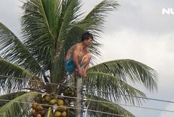 Cứu nam thanh niên nghi 'ngáo đá' leo cột điện lúc sáng sớm