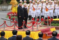 Lễ đón trọng thể Chủ tịch Triều Tiên Kim Jong-un thăm chính thức Việt Nam