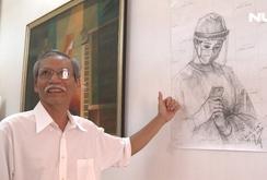 Nhà giáo về hưu vẽ tranh cổ động các bác sĩ chống Covid-19