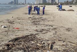 Hơn 30 tấn rác tấp vào bãi biển Đà Nẵng