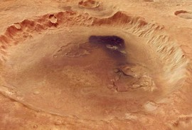 Cận cảnh miệng núi lửa rộng hơn 100 km trên Sao Hỏa