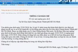 TP HCM: Chứng khoán tạm ngừng giao dịch ngày 23-1 do lỗi hệ thống