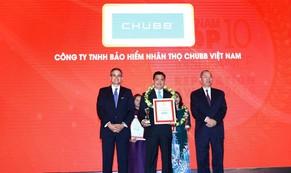 """Chubb Life Việt Nam được vinh danh """"Top 10 doanh nghiệp bảo hiểm nhân thọ uy tín năm 2019"""""""