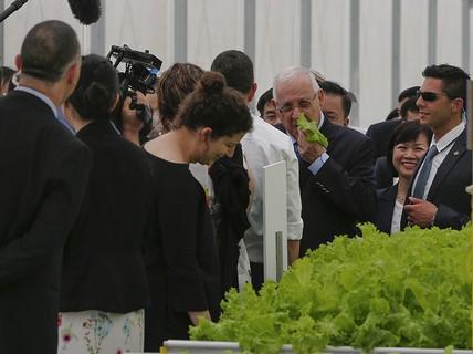 Tổng thống Israel thưởng thức rau sạch Việt Nam ngay tại vườn
