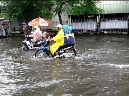 """Cà Mau: Đường biến thành """"sông"""" sau cơn mưa như trút nước"""