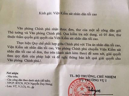 Vụ viết đơn thuê, bị bắt: Văn phòng Chính phủ chuyển đơn tố cáo sang VKSND Tối cao