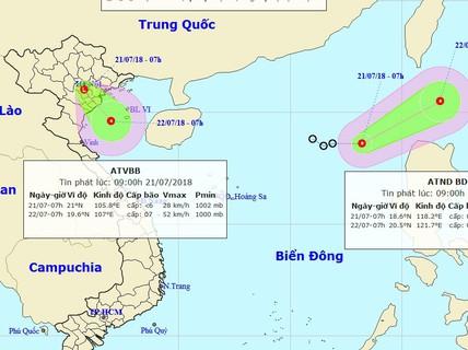 Áp thấp nhiệt đới chồng áp thấp nhiệt đới trên biển Đông