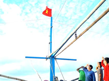 Buổi chào cờ trên biển