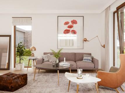 Phòng khách mang phong cách thập niên 50