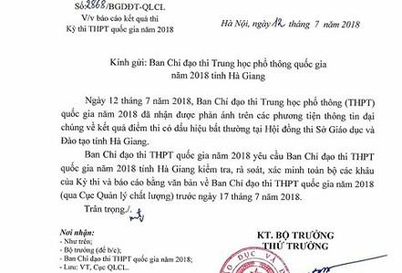 Bộ GD-ĐT yêu cầu xác minh vụ điểm cao bất thường ở Hà Giang