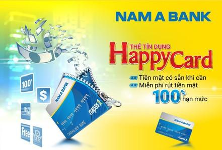 Thẻ tín dụng Nam A Bank Happy Card miễn phí rút tiền mặt tới 100% hạn mức