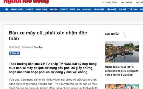 """TP HCM xác minh nội dung """"bán xe máy cũ"""" mà Báo Người Lao Động phản ánh"""