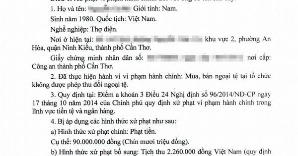 Cần Thơ: Bị phạt 90 triệu đồng vì đổi 100 USD tại tiệm vàng