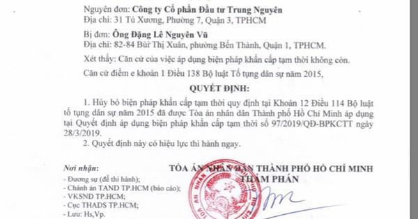 Tòa án bỏ biện pháp khẩn cấp tạm thời đối với Công ty CP Đầu tư Trung Nguyên
