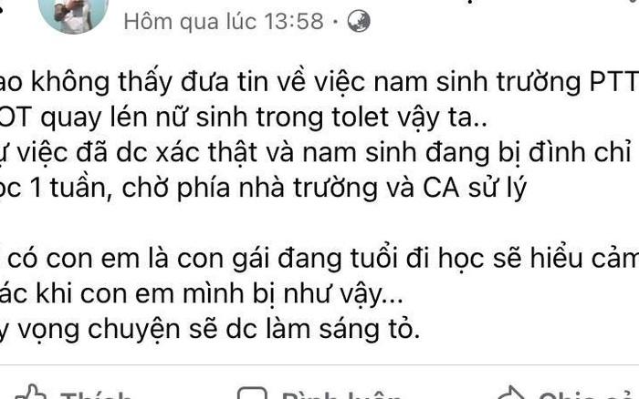 Nam sinh Trường THPT Giồng Ông Tố quay lén trong nhà vệ sinh nữ
